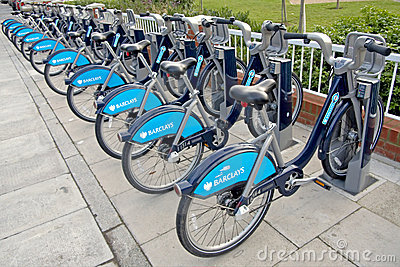Bicycles for Hire, London Editorial Stock Photo