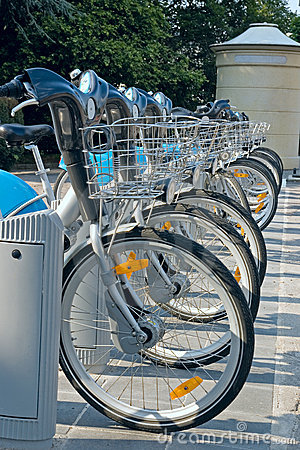 Row of bicycles, a public transport in Luxembourg