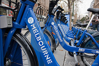 Row of bikes - Melbourne Bike Share scheme Editorial Stock Image