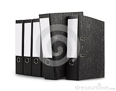 Row of black office folders