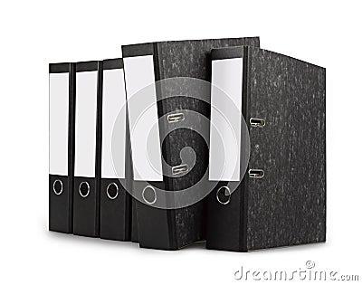 Row of black office folders