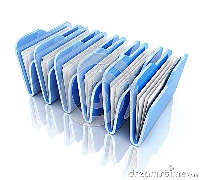 Row blue file Stock Photo