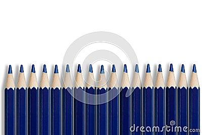 Row of blue pencils