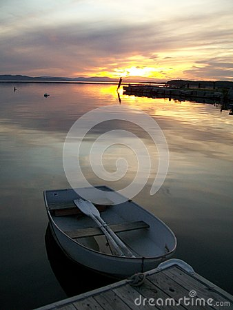 A row boat at sunset