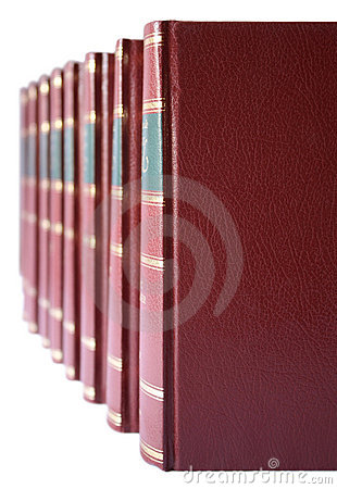 Row of books with red hard leather cover