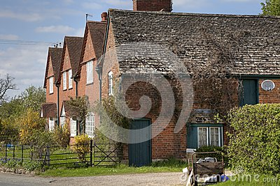 Row of brick cottages, Gloucestershire