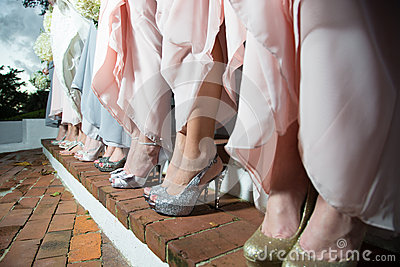 Row of bridesmaids in dresses