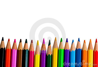 Row of bright color pencils
