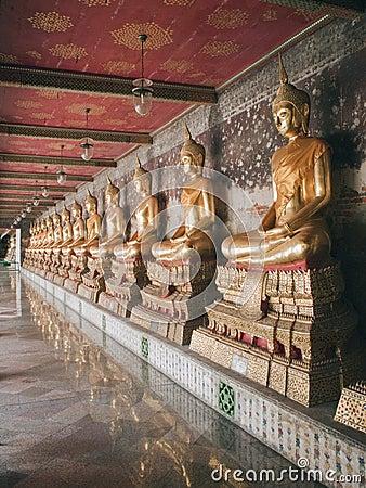 Row of Buddha statues