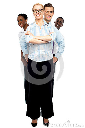 Row of business associates behind smiling woman
