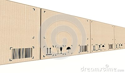 Row of cardboard boxes background