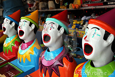 Row of carnival clowns