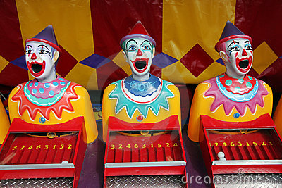 Row of carnival clowns