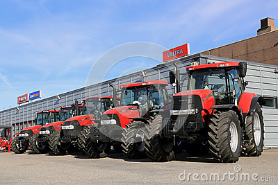 Row of Case IH Agricultural Tractors Editorial Photography