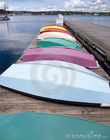 Row of color boat on a pier