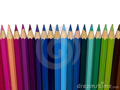 Row of color pencils