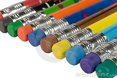 Row of color pencils with erasers