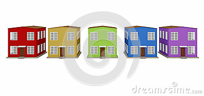 A row of colored small houses