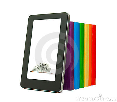 Row of colorful books and tablet PC