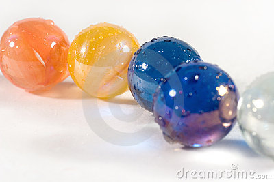Row of colorful marbles