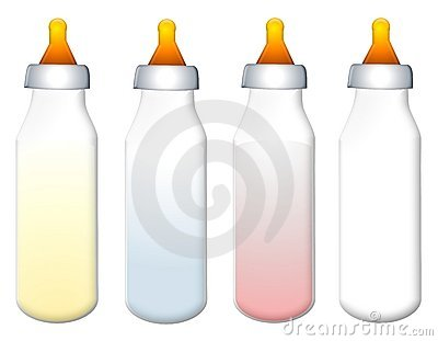 Row of Colourful Baby Bottles