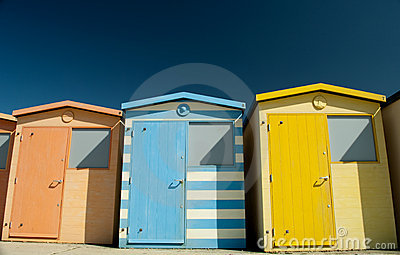 A row of colourful beach huts