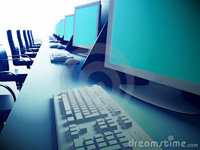 Row of computers on desk
