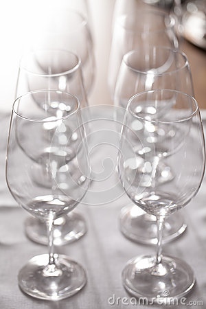 Row of empty wine glasses