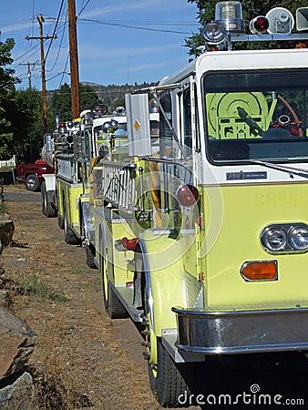 A row of firetrucks.