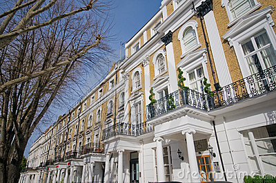 Row of flats in bayswater, london