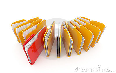 Row of folders and files. 3D illustration