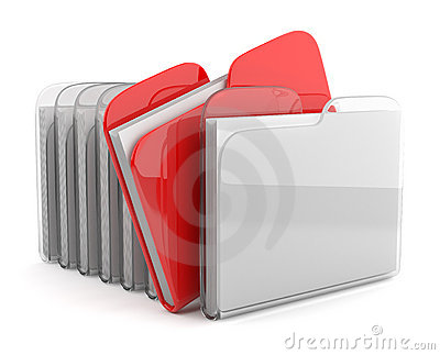 Row of folders and files. 3D  isolated