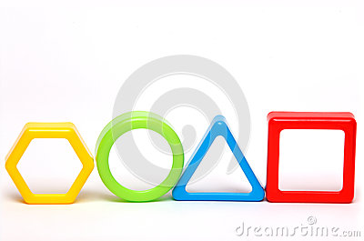 Four colored geometric forms