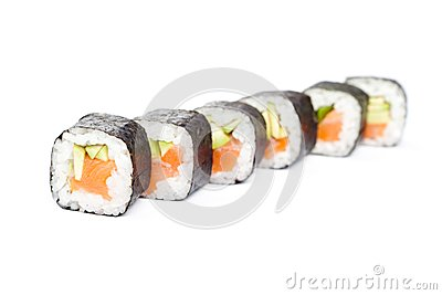 Row of fresh maki rolls