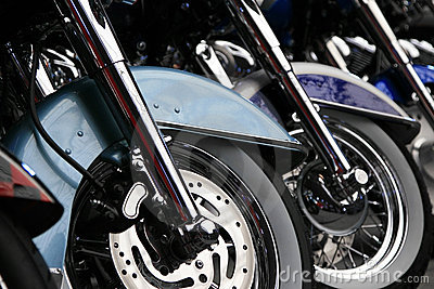 Row of front motorcycle wheels