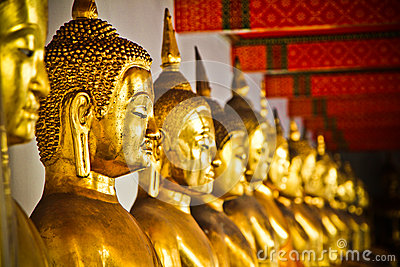 Row of Golden Budda Statues