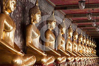 Row of Golden Buddha Statues