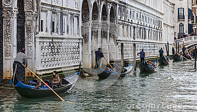 Row of Gondolas Editorial Stock Photo