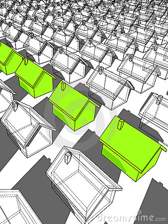"""Row of green """"ecological"""" houses"""