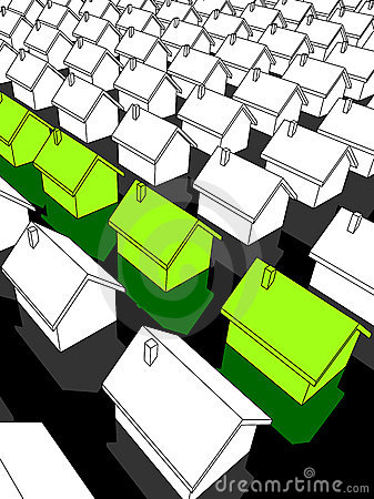 "Row of green ""ecological"" houses"