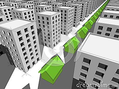 Row of green houses among many blocks of flats