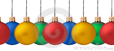 Row of hanging Christmas baubles