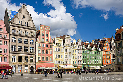 A row of house on the Market square in Wroclaw Editorial Photography