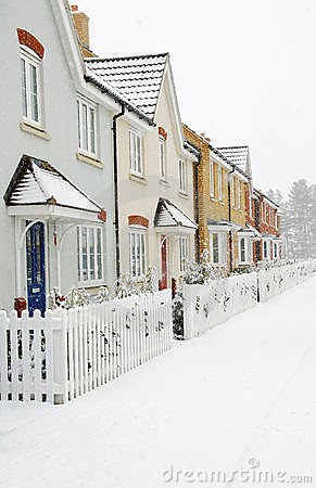 Row of Houses with Snow