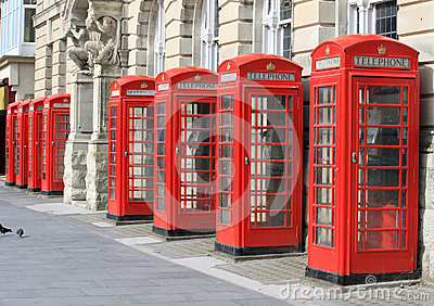 Row of iconic red telephone boxes in Blackpool Editorial Photography
