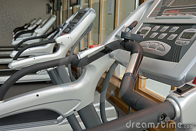 Row of jogging simulators