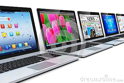 Row of laptops