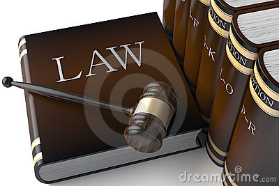 Row of leather law books on