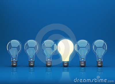 Row of light bulb 3D on blue background