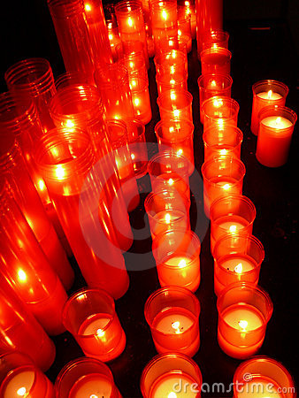 Row of lighted candles